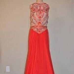 Sherri Hill Illusion Beaded Bodice Gown Red Size 8